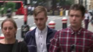 Husband of woman killed by cyclist calls for law change T23081705 / TX London Old Bailey EXT Charlie Alliston arriving at court with others END LIB