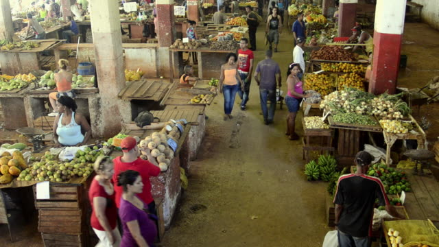 Hustle and bustle of local mercado market in downtown Havana Cuba