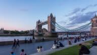 LONDON - CIRCA 2013: Hyper Lapse, hyperlapse, time lapse of Tower Bridge during sunset with people walking