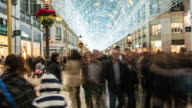 Hyperlapse 4K christmas street with lights