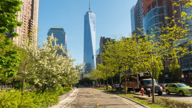 Hyperlapse along bike lane towards One World Trade Center, POV