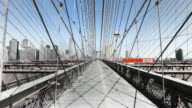Hyperlapse along Brooklyn Bridge noir effect
