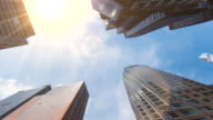 Hyperlapse looking up at skyscrapers in uptown Manhattan