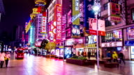 T/L Hyperlapse of Nanjing Road at Night / Shanghai, China