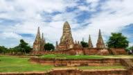 Hyperlapse of wat Chaiwatthanaram old temple in Ayutthaya Province,Thailand