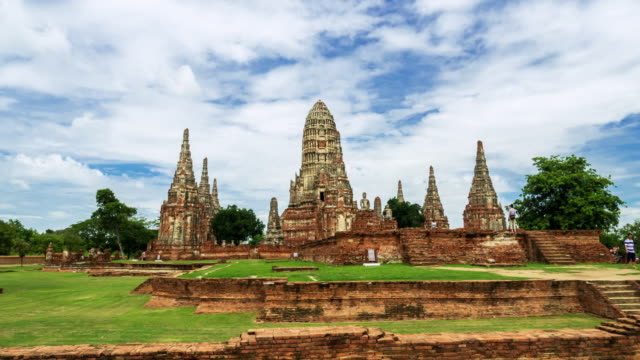 Hyperlapse of wat Chaiwatthanaram old temple in Ayutthaya Province,Thailand
