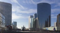 Hyperlapse Time lapse night to day tracking shot in business district La Defense Paris