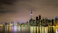 HD hyperlapse Time-lapse: Toronto Skyline Cityscapeat night Canada