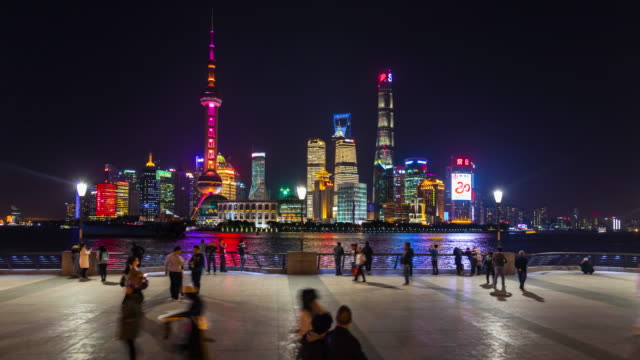 Hyperlapse tracking right along the Bund with Pudong skyline at night