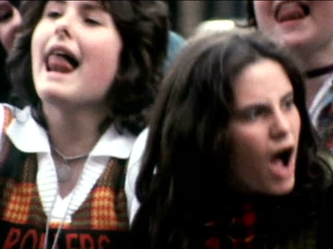 Hysterical Bay City Rollers fans outside concert hall 1975