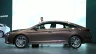 Hyundai Motor Co Brown Sonata 2018 stands on display during the Seoul Motor Show in Seoul South Korea on March 31 2017 Shots 3 full views of car...