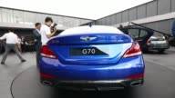 A Hyundai Motor Co Genesis G70 sedan stands on display during a launch event in Hwaseong South Korea on Friday Sept 15 The Hyundai Motor Co Genesis...