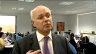 Iain Duncan Smith visits work programme provider in Colchester ENGLAND Essex Colchester Ingeus INT Iain Duncan Smith MP interview SOT On Work...