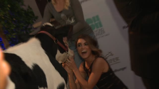 Ian Somerhalder and Nikki Reed pose with the animals Heifer International Hosts 3rd Annual Beyond Hunger 'A Place at the Table' Gala at Montage...