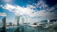 Ice blocks on the frozen surface of Lake Baikal