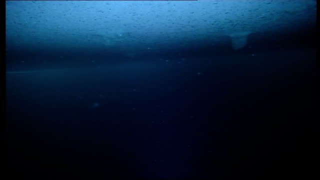 Ice camp as camera goes underwater into arctic ocean Underside of ice and surface of Arctic ocean