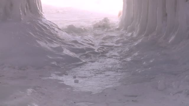 WXMI Ice Caves Formed Near Lake Michigan in Muskegon Michigan in February 2015 The ice on Lake Michigan near the shore was about 12 to 18 inches...