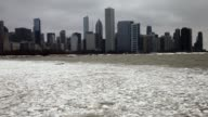 Ice collect along the shore of Lake Michigan as the city braces for another cold front on February 9 2015 in Chicago Illinois