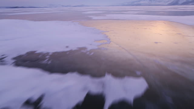 Ice crack pattern on frozen lake Baikal