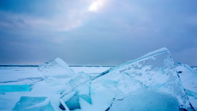 Isfältet i solnedgång