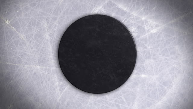Ice Hockey Puck Face-off and Hit on It