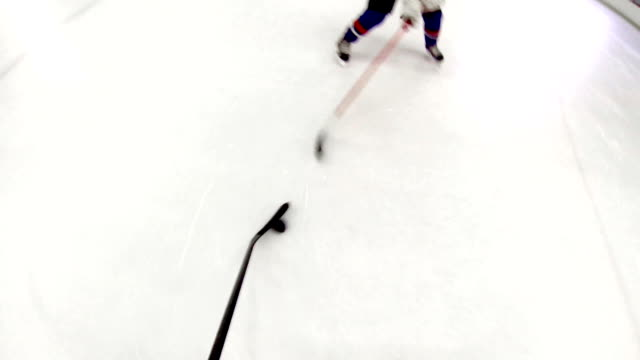 Ice hockey training.