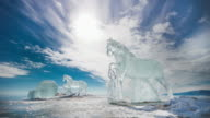 Ice Horses on the frozen surface of Lake Baikal
