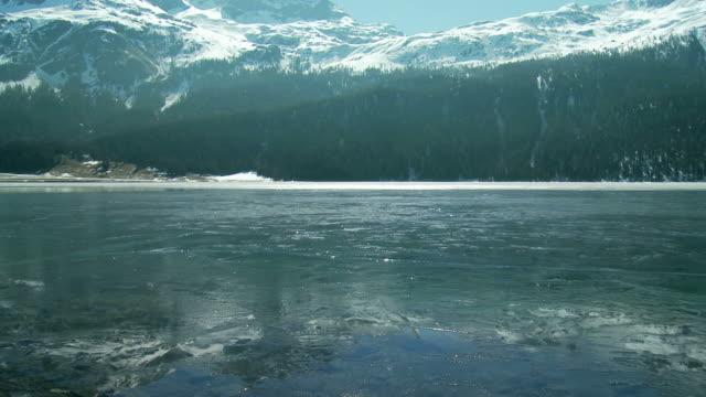 ice on mountain lake thawing