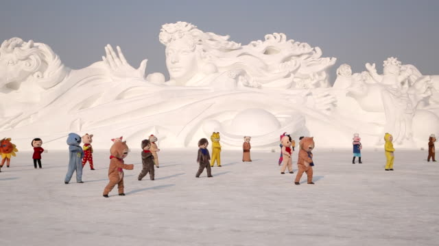 Ice sculptures at the Harbin Ice and Snow Festival in Heilongjiang Province, Harbin, China
