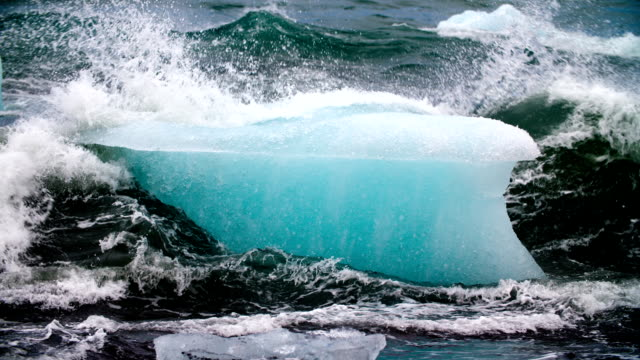 SLOW MOTION : Iceberg in rough sea