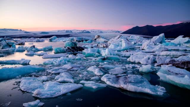 Icebergs floating in Jokulsarlon glacier lake