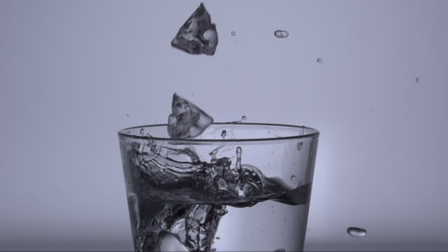 icecubes falling into a glass of water V4