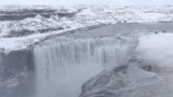 Iceland Dettifoss Waterfall in winter with snow