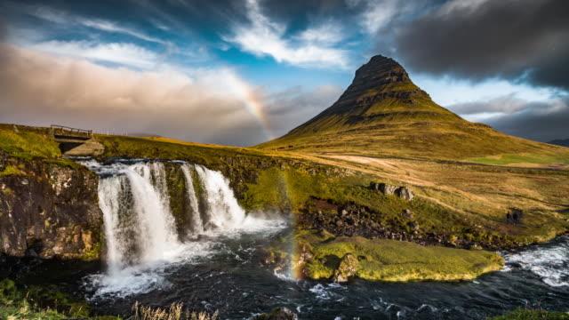 Iceland Landscape with Rainbow - Kirkjufell