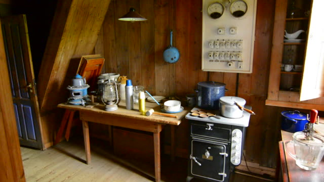 Iceland Skogasafn Turf Houses interior kitchen in South Iceland Skogar Museum museum for tourists and old houses