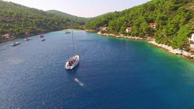 AERIAL Idyllic bay on an island in Croatia