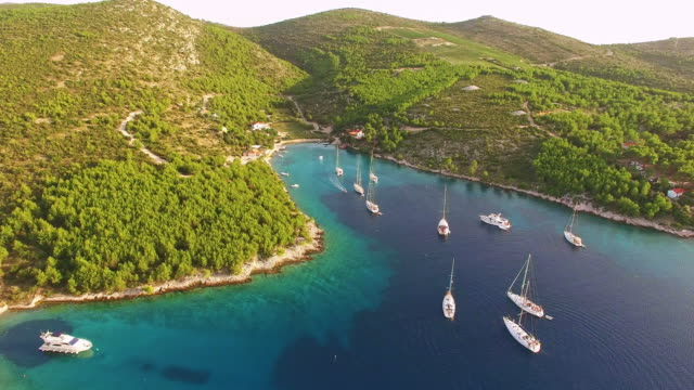AERIAL Idyllic bay on the island in Croatia