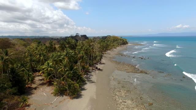 AERIAL Idyllic remote beach in Costa Rica