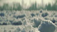 Idyllic winter landscape. Close-up on frozen snow