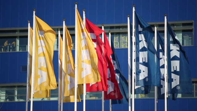 Ikea signage is displayed outside the building of an Ikea AB store in Gwangmyeong Gyeonggi province South Korea on Thursday Dec 18 Ikea AB flags fly...