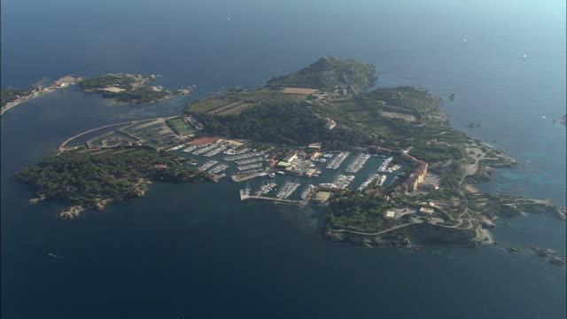 AERIAL, Ile des Embiez marina, Provence-Alpes-Cote d'Azur, France