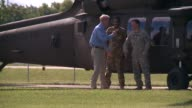 WGN Illinois Governor Bruce Rauner Takes a Ride on a Blackhawk Helicopter at the Illinois National Guard training center in Marseilles Illinois in...