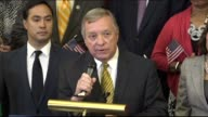 Illinois Senator Richard Durbin says at a gathering of congressional Democrats that President Donald Trump said we love dreamers but would now deport...