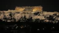 MS Illuminated Acropolis & Parthenon at night / Athens, Greece