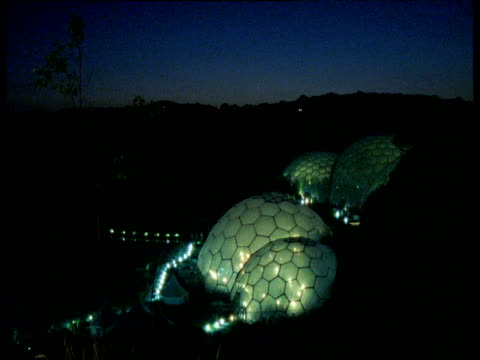 Illuminated Eden Project Biomes At Night Cornwall Stock Footage
