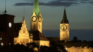 MS, Illuminated Fraumunster and St Peter Churches at dusk, Zurich, Switzerland