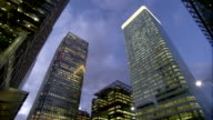 Illuminated office blocks in Canary Wharf. Available in HD.