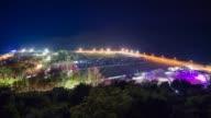 Illuminated Old town of Budva at night, Montenegro