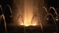 CU, Illuminated World War II Memorial fountain, night, Washington DC, Washington, USA,