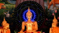 image of Buddha is decorated with LED-light